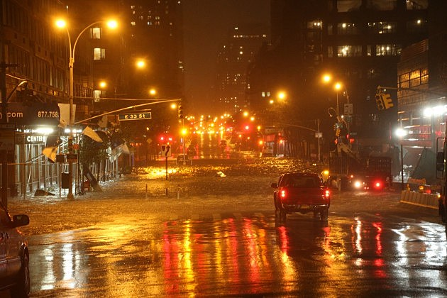 A view of the corner of 34th Street and 1st Street in Manhattan during rains from Hurricane Sandy on October 29, 2012 in New York City.